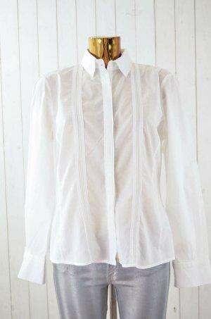 ZARA WOMAN Damen Bluse Oberteil Langarm Weiß Baumwolle Biesen Gr.L