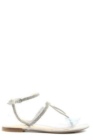 Zara Woman Zehentrenner-Sandalen wollweiß-silberfarben Casual-Look