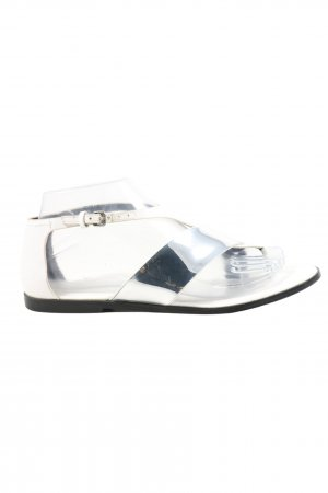 Zara Woman Dianette Sandals silver-colored-white wet-look