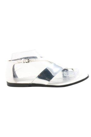 Zara Woman Sandalias Dianette color plata-blanco look efecto mojado