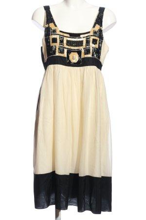 Zara Woman Robe empire crème-noir motif abstrait style décontracté