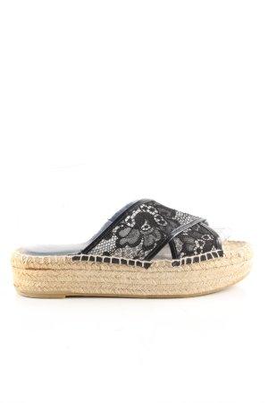 Zara Woman Espadrilles-Sandalen schwarz-wollweiß Casual-Look