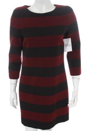 Zara Woman Etuikleid schwarz-bordeauxrot Streifenmuster Casual-Look