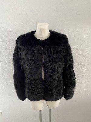 Zara Woman Fell Jacke schwarz Kunst Fell Felljacke Fake Fur Edel  so miu cute Style Kate Moss M