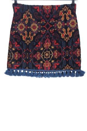 Zara Woman Falda con flecos estampado gráfico look casual
