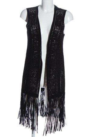 Zara Woman Fringed Vest black casual look
