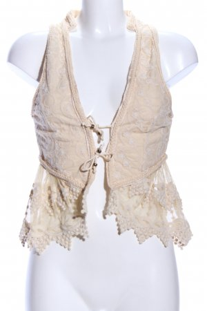 Zara Woman Chaleco con flecos crema Mezcla de patrones estilo fiesta