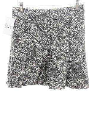 Zara Woman Glockenrock weiß-schwarz abstraktes Muster Casual-Look