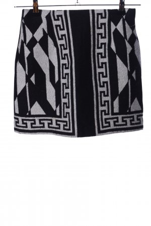 Zara Woman Godet Skirt black-light grey graphic pattern casual look
