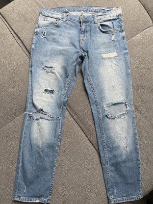 Zara Woman Jeansy typu boyfriend błękitny-chabrowy