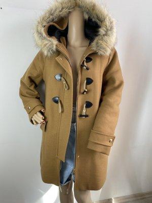 Zara Woman Abrigo con capucha marrón arena tejido mezclado