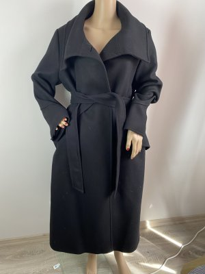 Zara Woman Abrigo largo negro tejido mezclado