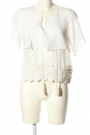 Zara Woman Gehaakt shirt wit elegant