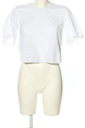 Zara Woman Top de ganchillo blanco look casual