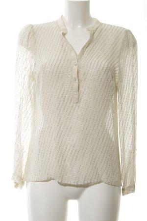 Zara Woman Hemd-Bluse creme-silberfarben Streifenmuster Elegant