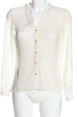 Zara Woman Hemd-Bluse wollweiß Webmuster Casual-Look