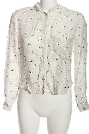 Zara Woman Hemd-Bluse weiß-schwarz Allover-Druck Business-Look