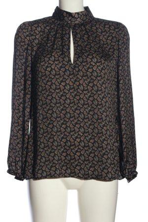 Zara Woman Hemd-Bluse schwarz-braun Allover-Druck Business-Look