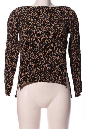 Zara Woman Hemd-Bluse schwarz-creme Allover-Druck Casual-Look