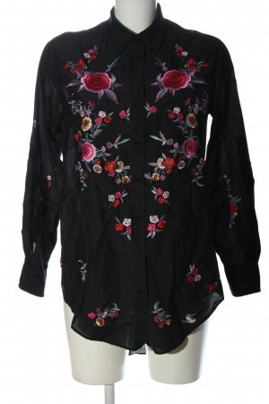 Zara Woman Hemd-Bluse schwarz-pink Blumenmuster Business-Look