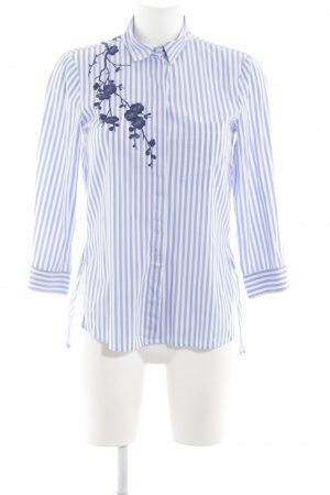 Zara Woman Hemd-Bluse blau-weiß Schriftzug gestickt Business-Look