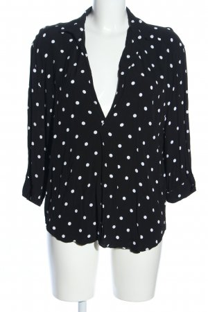 Zara Woman Hemd-Bluse schwarz-weiß Punktemuster Casual-Look
