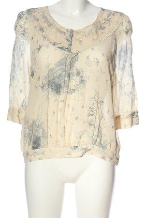 Zara Woman Hemd-Bluse creme-hellgrau Allover-Druck Casual-Look