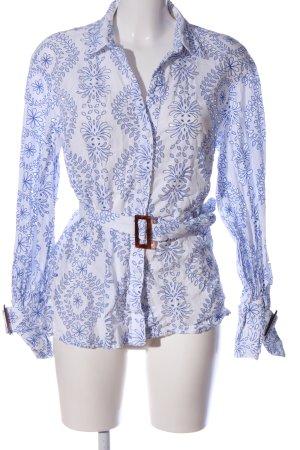Zara Woman Hemd-Bluse blau-weiß abstraktes Muster Casual-Look
