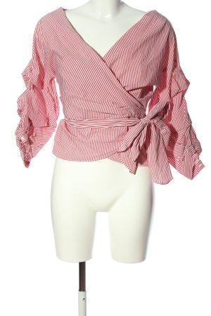 Zara Woman Hemd-Bluse pink-weiß Streifenmuster Casual-Look