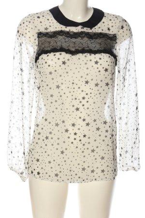 Zara Woman Hemd-Bluse weiß-schwarz abstraktes Muster Casual-Look