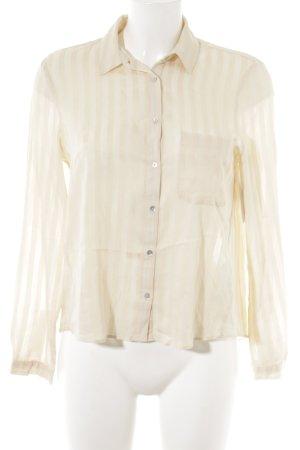 Zara Woman Hemd-Bluse creme Streifenmuster Casual-Look