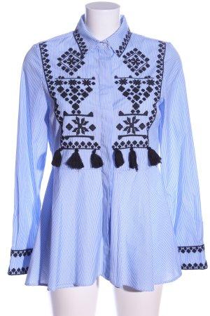 Zara Woman Hemd-Bluse blau-schwarz grafisches Muster Casual-Look