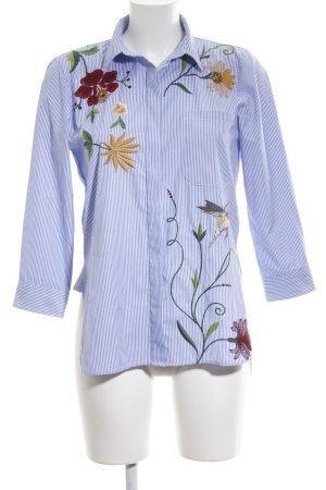 Zara Woman Hemd-Bluse kornblumenblau-weiß Streifenmuster Casual-Look