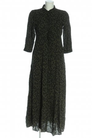 Zara Woman Hemdblusenkleid khaki-schwarz Allover-Druck Casual-Look