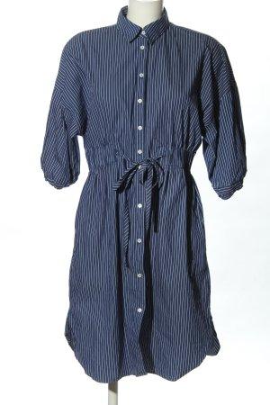 Zara Woman Vestido tipo blusón azul-blanco estampado a rayas look casual