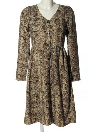 Zara Woman Hemdblusenkleid creme-braun Allover-Druck Casual-Look