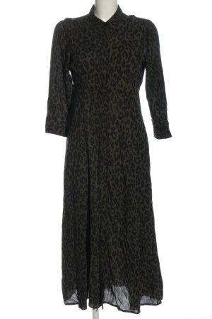 Zara Woman Shirtwaist dress khaki-black allover print elegant