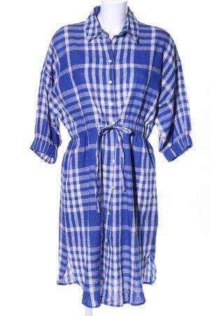 Zara Woman Hemdblousejurk blauw-wit geruite print casual uitstraling