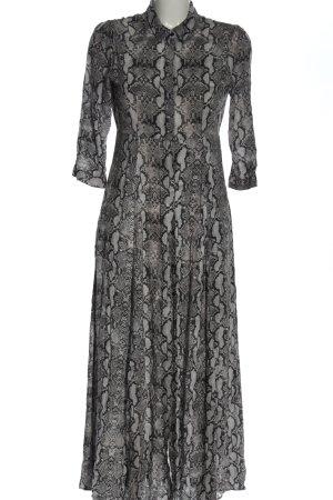 Zara Woman Koszulowa sukienka jasnoszary-czarny Zwierzęcy wzór Elegancki