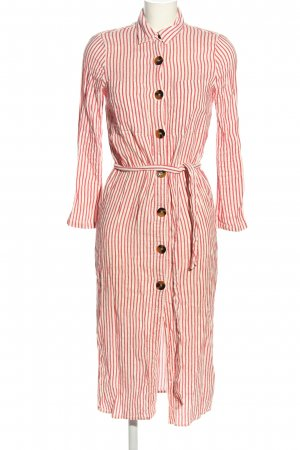 Zara Woman Hemdblusenkleid rot-wollweiß Streifenmuster Casual-Look