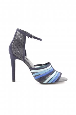 Zara Woman High Heel Sandaletten blau-schwarz Casual-Look