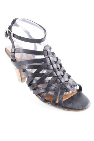Zara Woman High Heel Sandaletten schwarz-beige Casual-Look