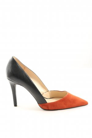 Zara Woman High Heels hellorange-schwarz Animalmuster Business-Look
