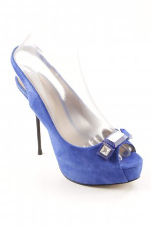 Zara Woman High Heels stahlblau-silberfarben Casual-Look