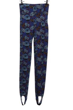 Zara Woman High-Waist Hose blau-braun Allover-Druck Casual-Look
