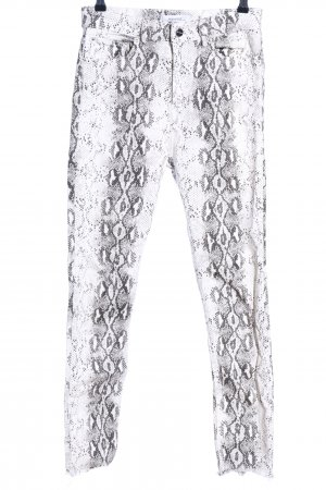 Zara Woman High-Waist Hose weiß-hellgrau Allover-Druck extravaganter Stil