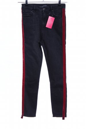 Zara Woman Hoge taille jeans zwart-rood casual uitstraling