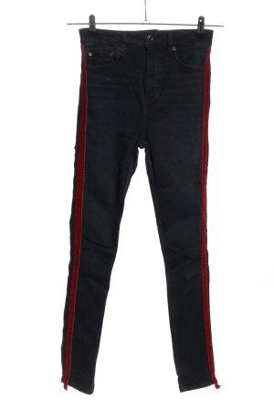 Zara Woman High Waist Jeans schwarz-rot Casual-Look