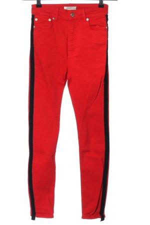 Zara Woman High Waist Jeans rot-schwarz Casual-Look