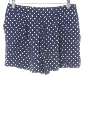 Zara Woman High-Waist-Shorts blau-weiß Punktemuster Casual-Look